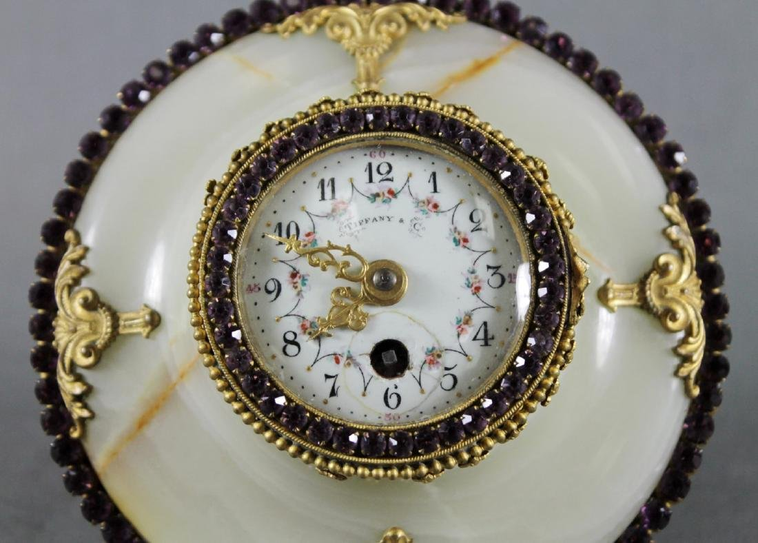 TIFFANY AND CO. JEWELLED BRONZE AND MARBLE BAROMETER - 3