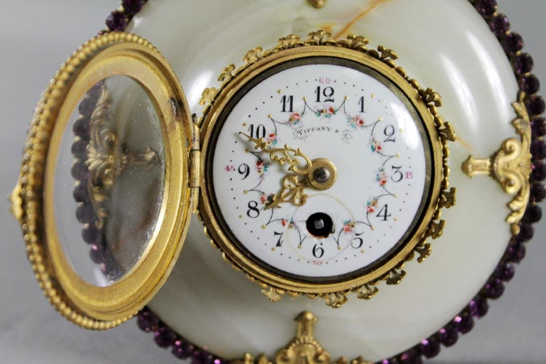 TIFFANY AND CO. JEWELLED BRONZE AND MARBLE BAROMETER - 6