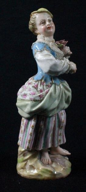 MEISSEN FIGURE OF A LADY HOLDING FLOWER