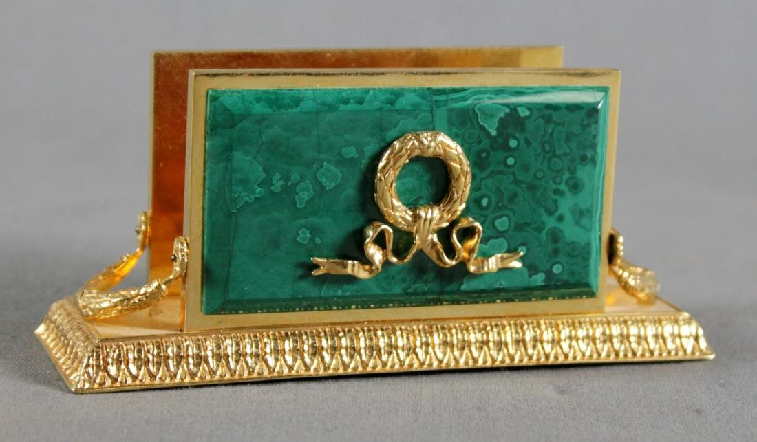 MALACHITE AND BRONZE CARD HOLDER