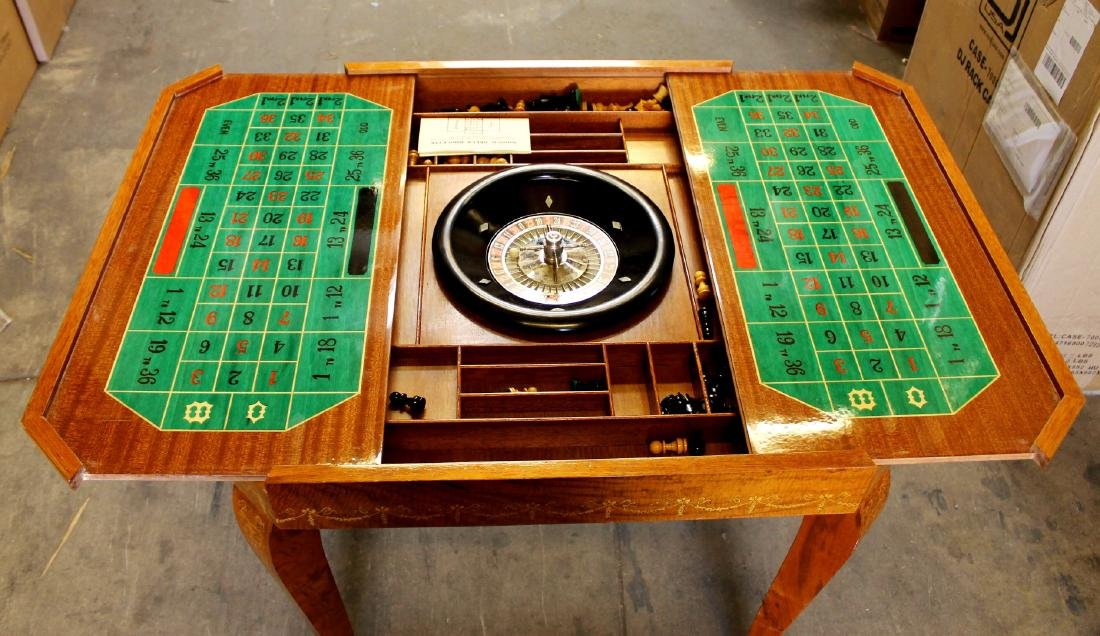 ITALIAN INALID MULTI GAME TABLE W/ GAME PIECES - 7