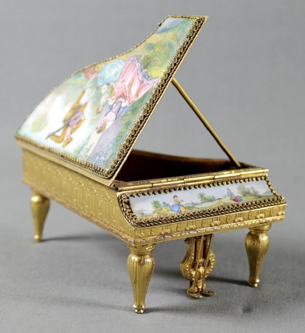 VIENNESE ENAMEL PIANO SHAPED BOX