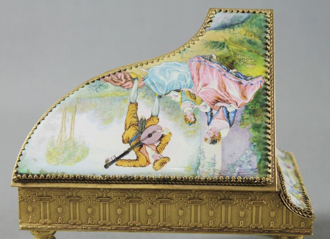 VIENNESE ENAMEL PIANO SHAPED BOX - 2