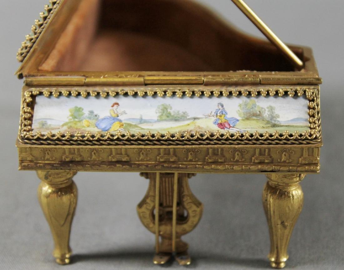 VIENNESE ENAMEL PIANO SHAPED BOX - 3