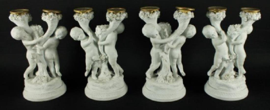 SET OF 4 SAMSON BISQUE AND GILT BRONZE CANDELABRA