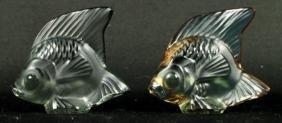 PAIR OF LALIQUE CRYSTAL FISH (GRAY)