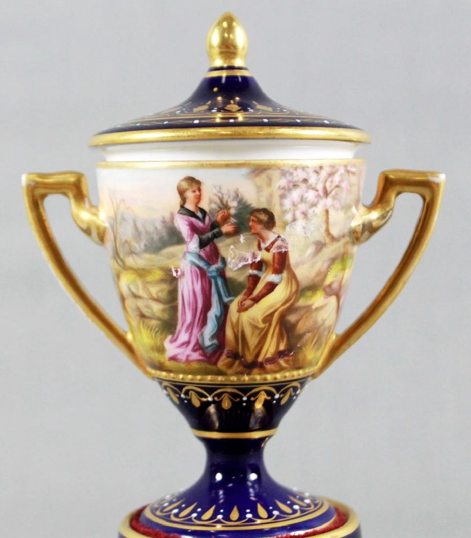 PAIR OF ROYAL VIENNA PORCELAIN COVERED URNS - 4