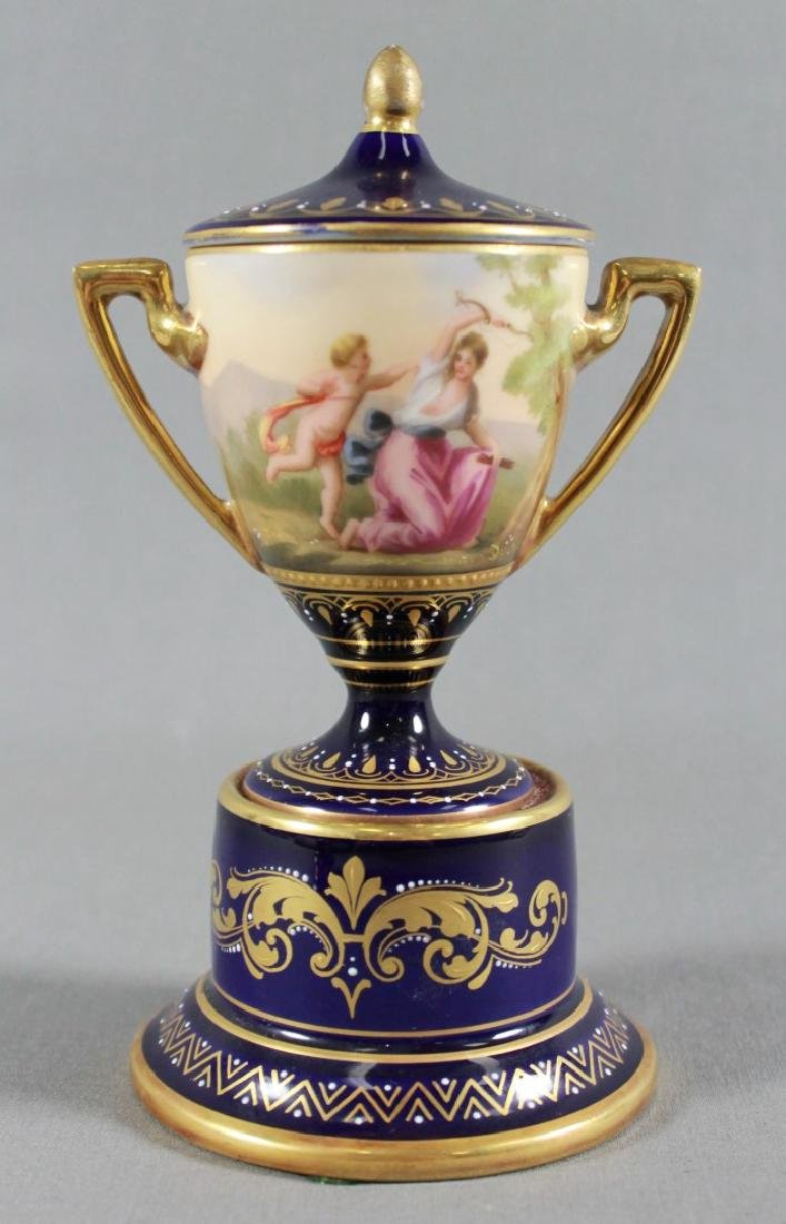 PAIR OF ROYAL VIENNA PORCELAIN COVERED URNS - 5