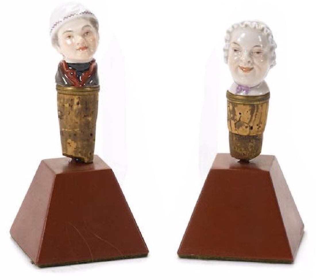 PAIR OF 19TH C. GERMAN PORCELAIN CANE STOPPERS