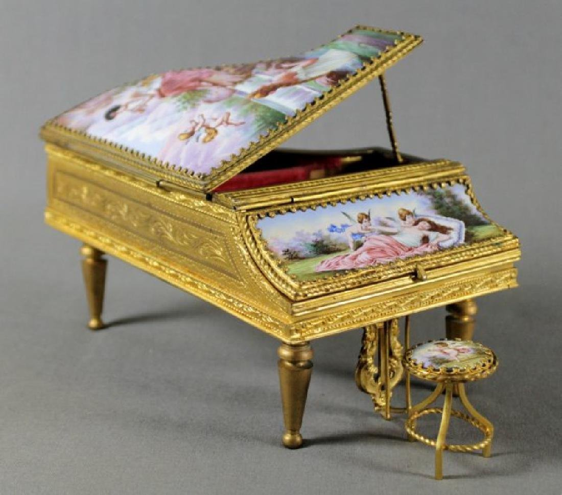 AUSTRIAN BRONZE AND ENAMEL PIANO MUSIC BOX AND STOOL