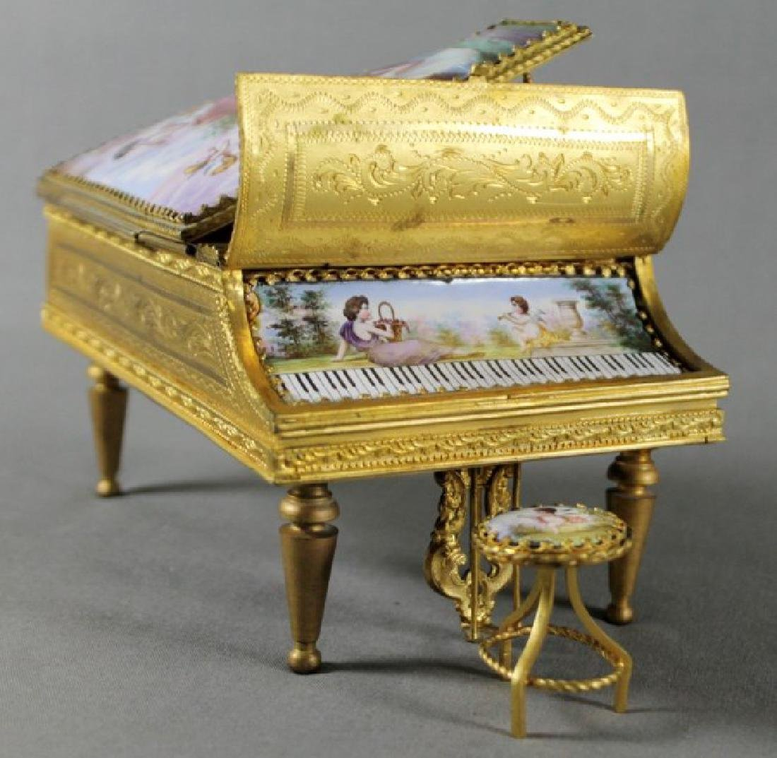 AUSTRIAN BRONZE AND ENAMEL PIANO MUSIC BOX AND STOOL - 2