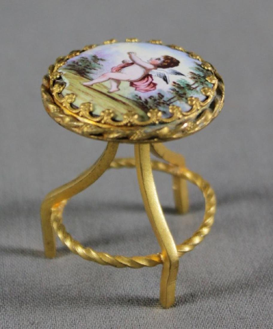 AUSTRIAN BRONZE AND ENAMEL PIANO MUSIC BOX AND STOOL - 3