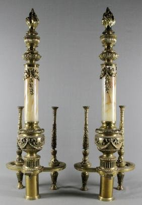 PAIR OF BRASS AND MARBLE ANDIRONS