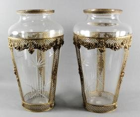 PAIR OF LARGE GLASS AND GILT METAL VASES