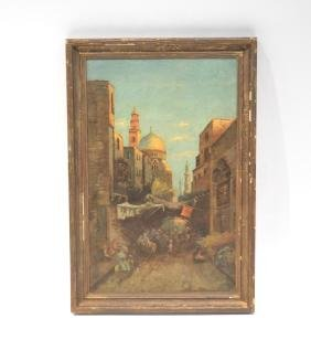 OIL ON BOARD ARABIAN MARKET SCENE
