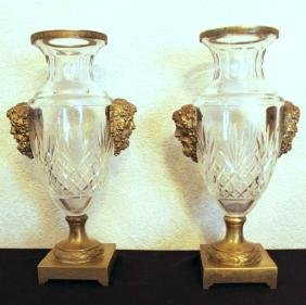 PAIR OF LOUIS XVI STYLE GILT BRONZE CRYSTAL URNS