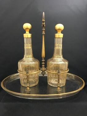 Baccarat Set of Two Bottles and Plate with Bronze Mount