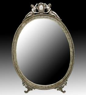 STERLING SILVER CHASED WALL DRESSER MIRROR AND FRAME