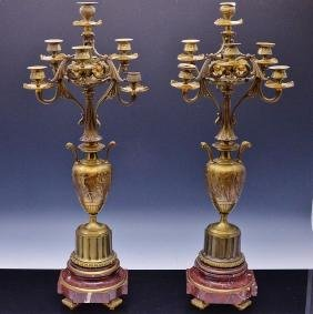 PAIR OF LARGE c1880 VICTORIAN FRENCH GILT BRONZE