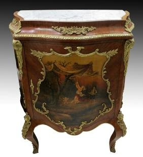 VERNIS MARTIN STYLE 1 DOOR CABINET WITH MARBLE TOP