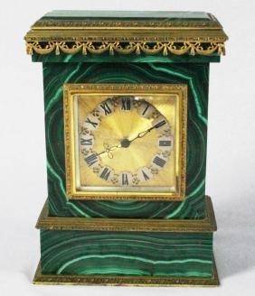 MALACHITE AND ORMOLU CLOCK ON SILVER