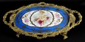 SEVRES STYLE PORCELAIN GILT BRONZE TRAY CIRCA 1900