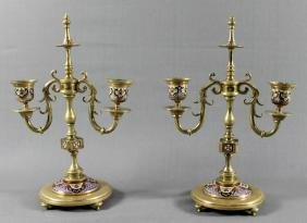 PAIR OF FRENCH CHAMPLEVE ENAMEL CANDELABRA