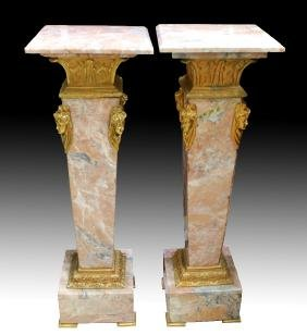 PAIR OF BRONZE AND MARBLE PEDESTALS
