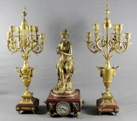 19TH C. ROUGE MARBLE AND DORE BRONZE 3 PC. CLCCKSET