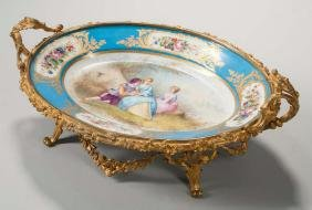 Sevres-style Porcelain and Gilt-bronze Serving Dish,