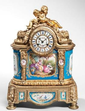 Sevres-type Porcelain-mounted Gilt-bronze Mantel Clock,