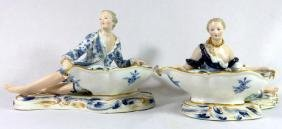 PAIR OF 19TH C. MEISSEN PORCELAIN FIGURAL SWEETMEAT