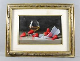 FRAMED OIL ON BOARD OF STRAWBERRIES BY R. BROOKS