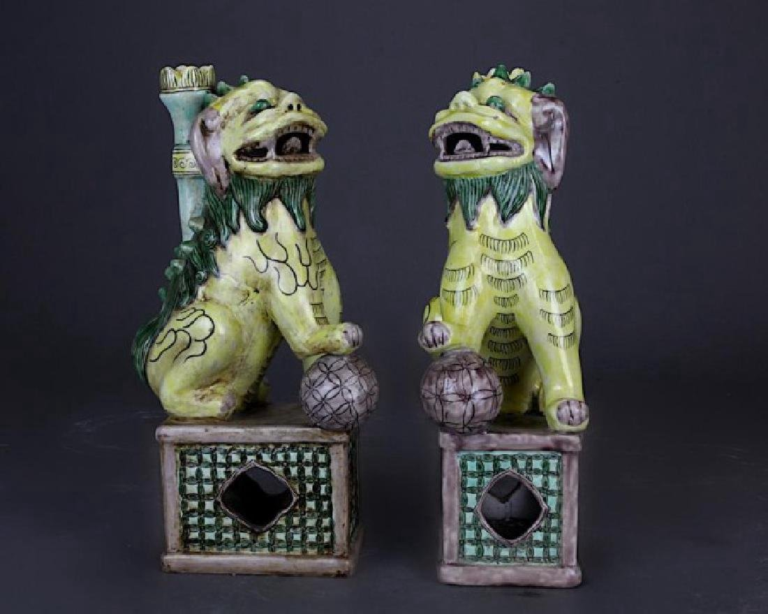TWO CHINESE PORCELAIN FOO DOGS