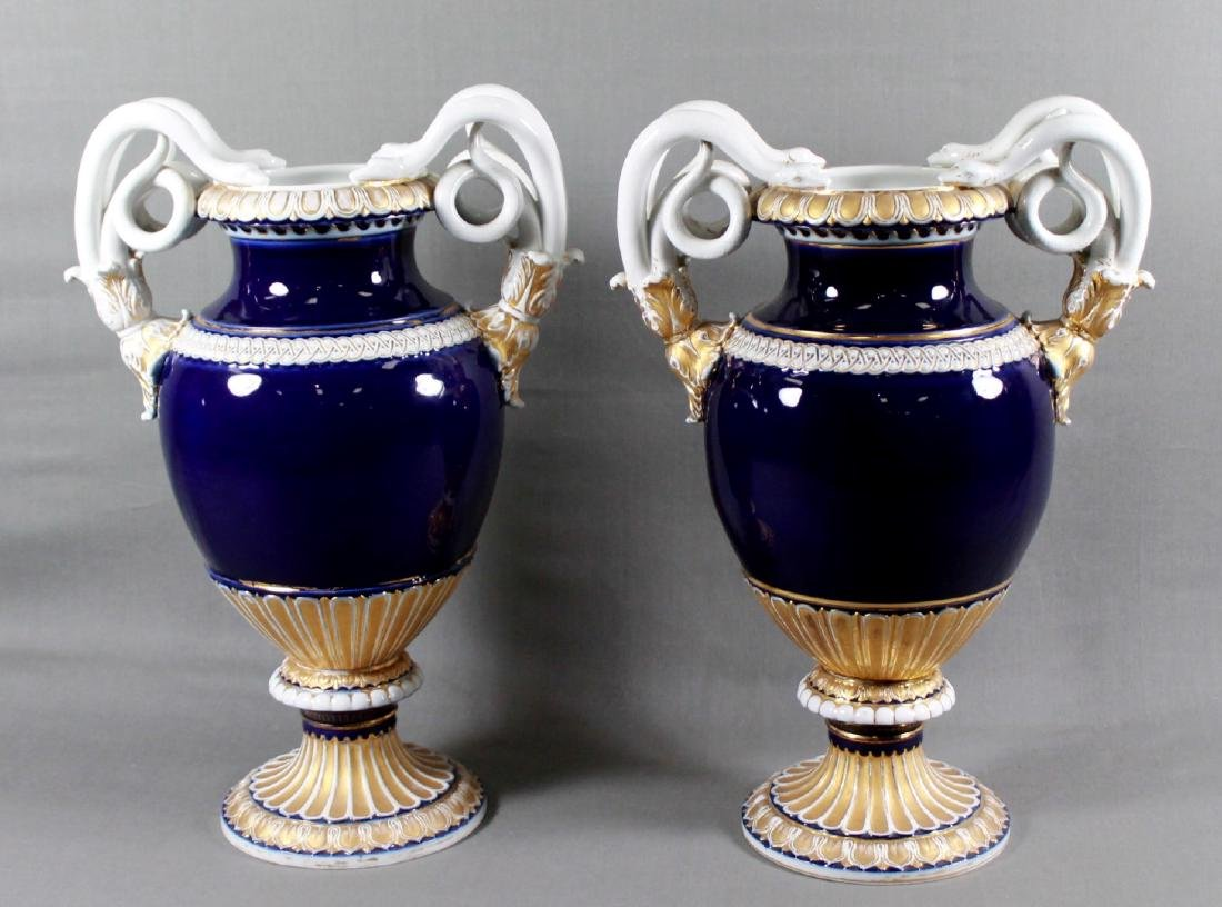 Pair of Large Meissen Cobalt Vases