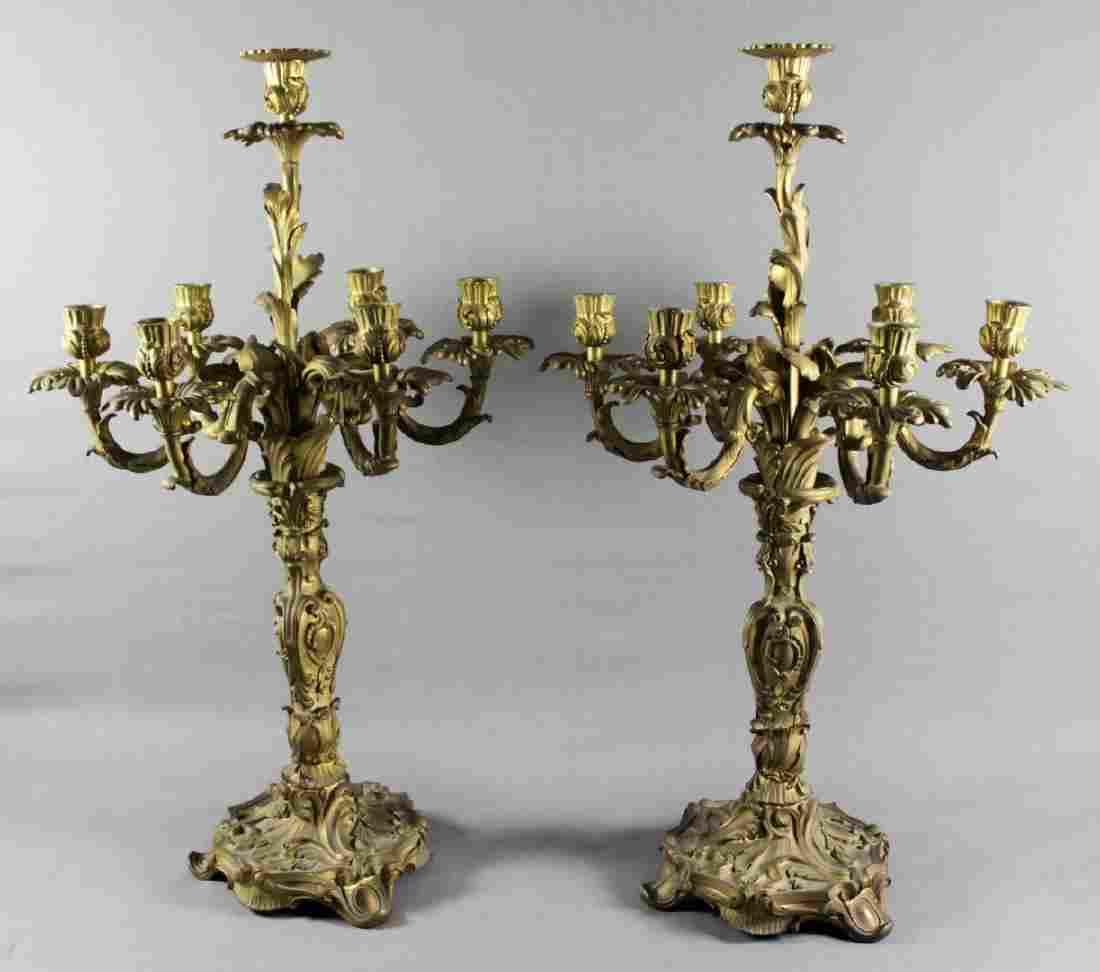 A Pair of Louis XV Style Gilt Bronze Seven-Light