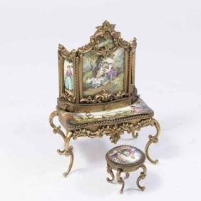 Viennese Enamel Miniature Cabinet & Stool