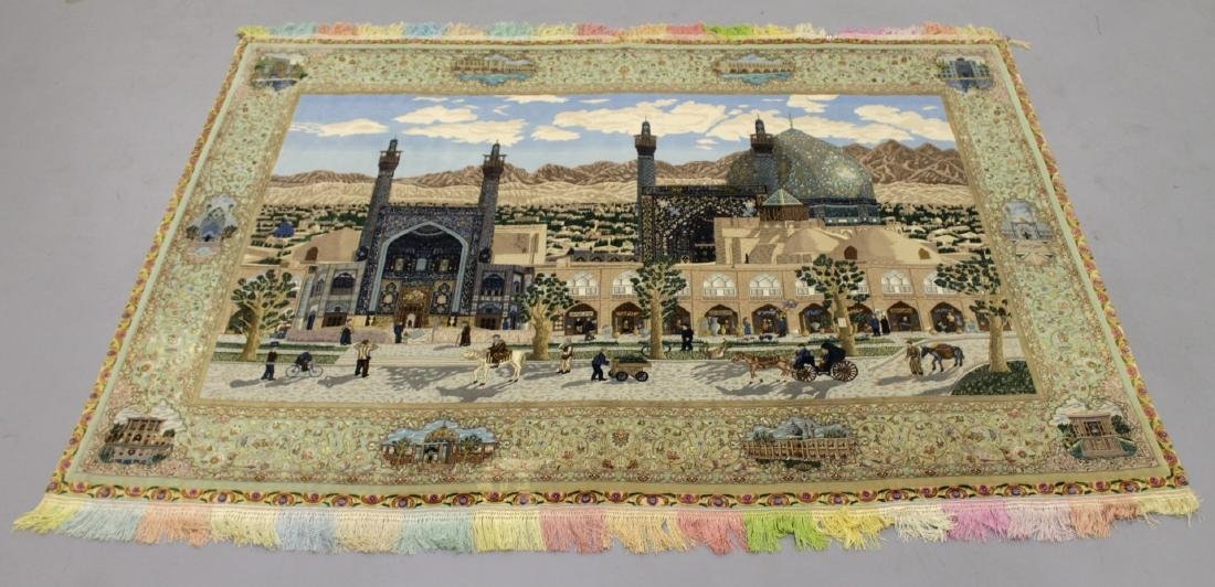 MAGNIFICENT ISFAHAN SCENE SILK AND WOOL RUG W/ GOLD THR