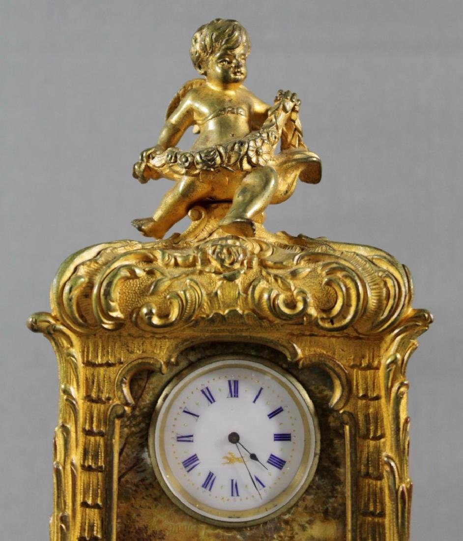 FRENCH BRONZE CABINET CLOCK - 3