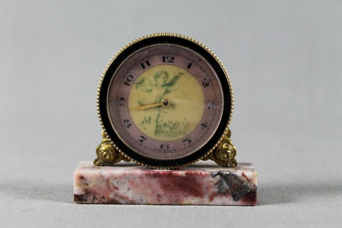 BRONZE TABLE CLOCK ON MARBLE BASE - 2