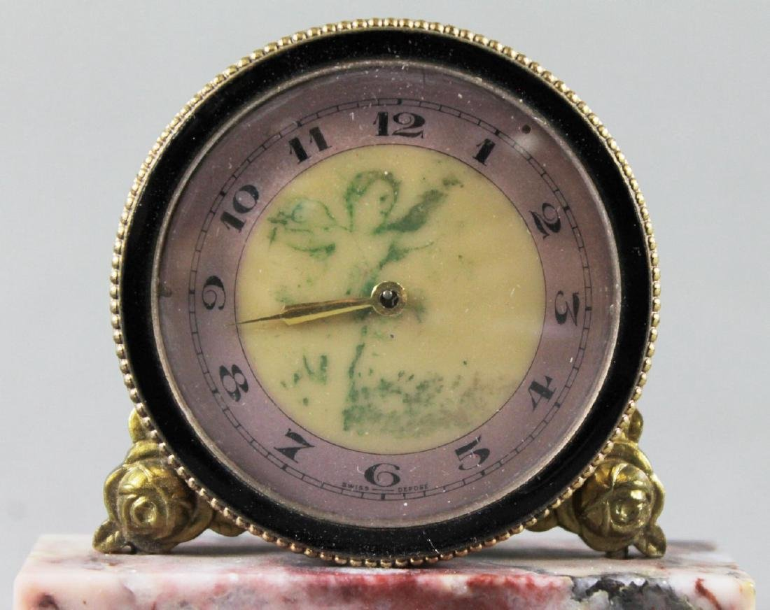 BRONZE TABLE CLOCK ON MARBLE BASE - 3