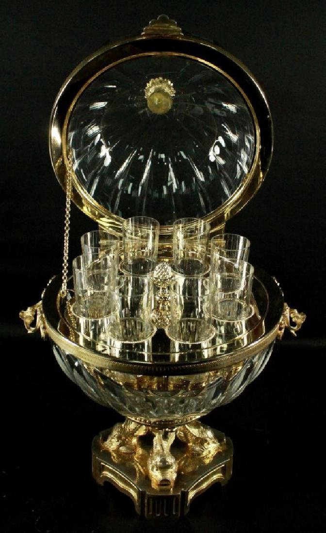 CONTINENTAL AND GILT METAL AND CUT GLASS CORDIAL SET - 3