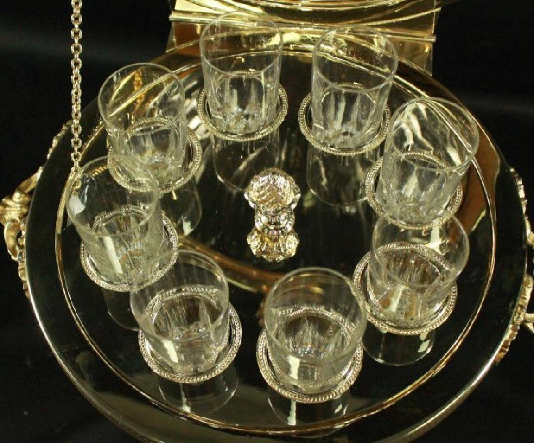 CONTINENTAL AND GILT METAL AND CUT GLASS CORDIAL SET - 4