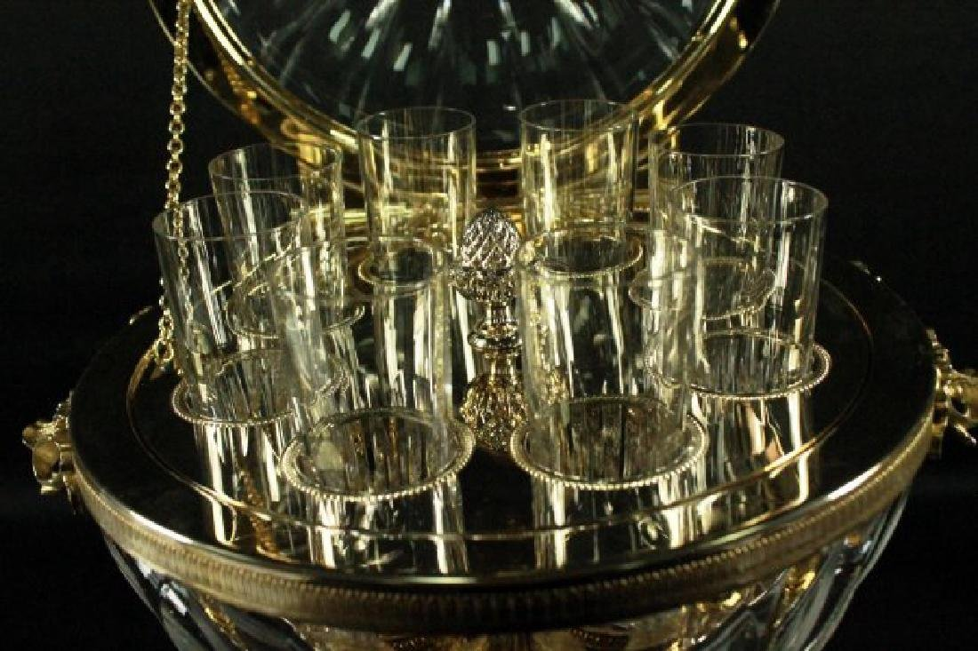 CONTINENTAL AND GILT METAL AND CUT GLASS CORDIAL SET - 5