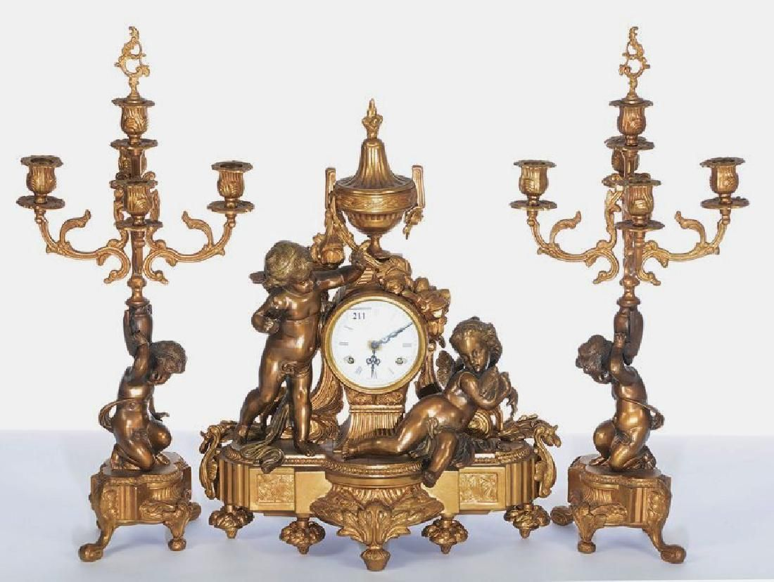 3 PC. ITALIAN BRONZE FIGURAL CLOCKSET