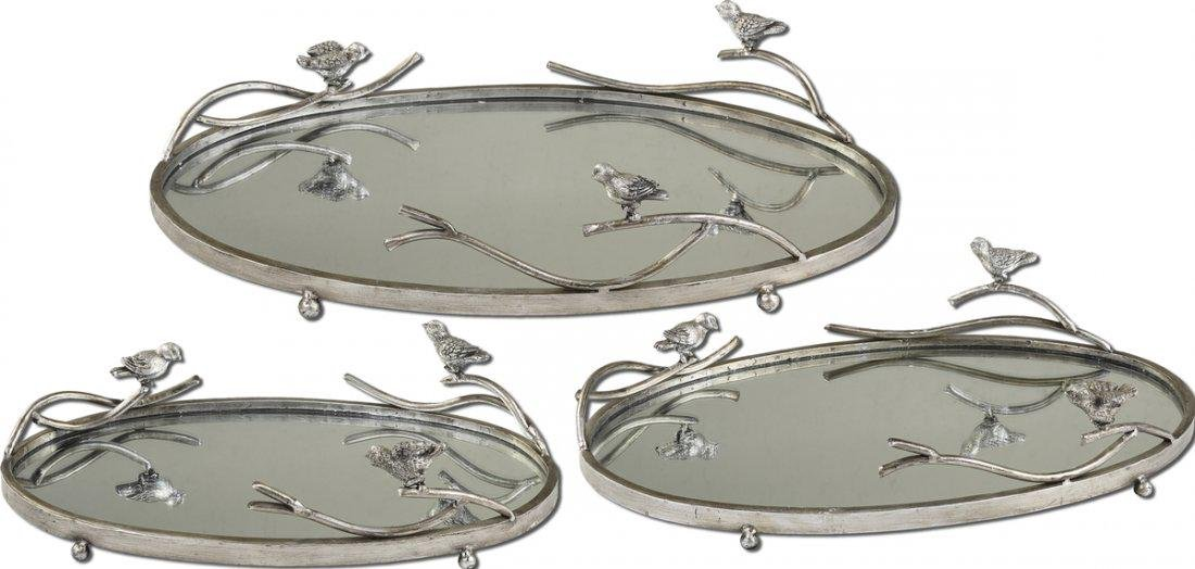 Set of 3 Trays, Birds On A Limb