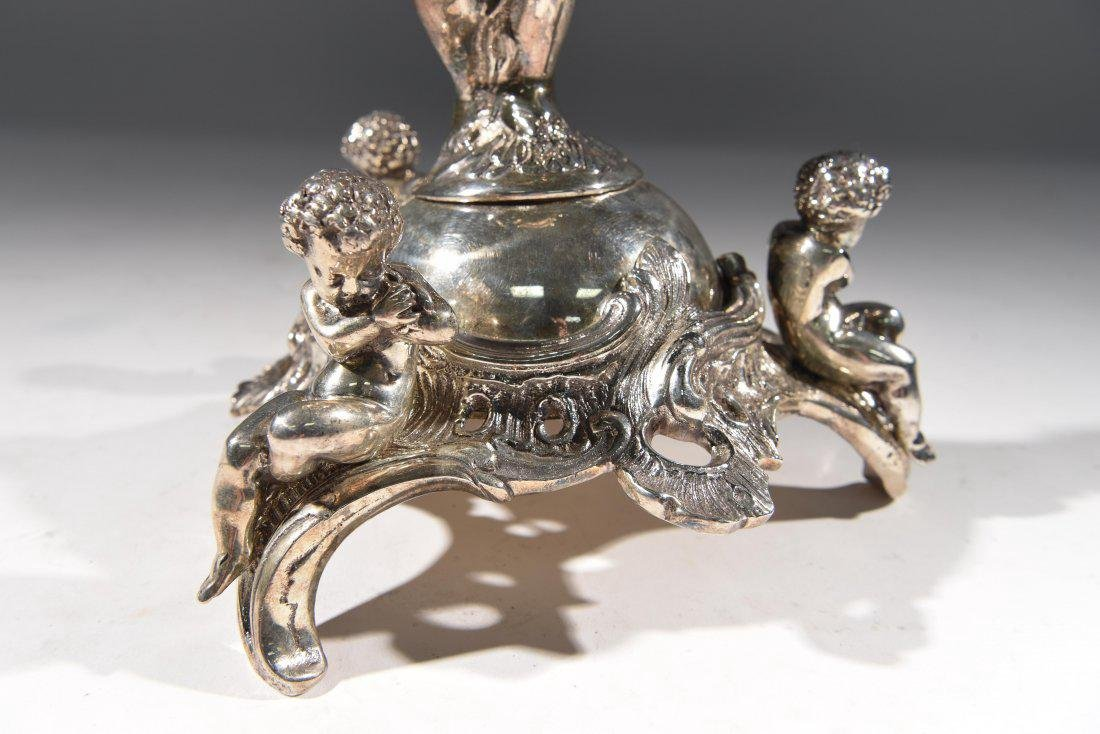 LARGE SILVERPLATE VASE W/ GLASS INSERT - 3