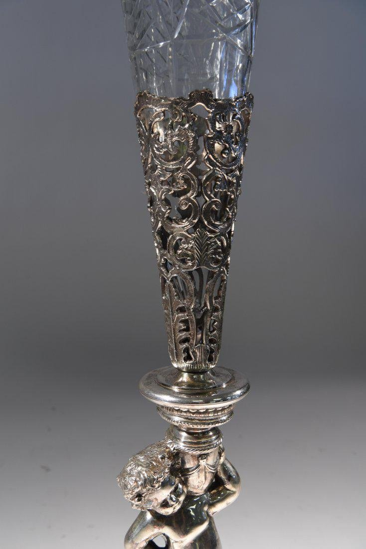 LARGE SILVERPLATE VASE W/ GLASS INSERT - 5