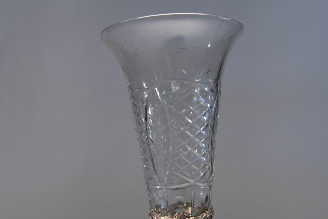 LARGE SILVERPLATE VASE W/ GLASS INSERT - 6