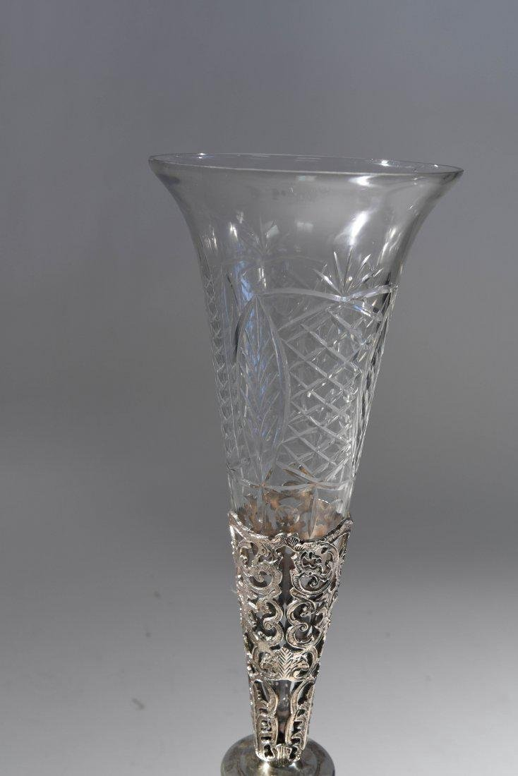 LARGE SILVERPLATE VASE W/ GLASS INSERT - 7